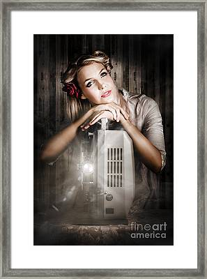 Vintage Beauty Watching Old Film Projector Movie  Framed Print