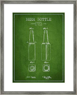 Vintage Beer Bottle Patent Drawing From 1934 - Green Framed Print by Aged Pixel