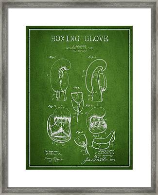 Vintage Boxing Glove Patent Drawing From 1896 Framed Print by Aged Pixel