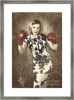 Vintage Boxing Pinup Poster Girl. Retro Fight Club Framed Print