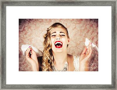 Vintage Bride Crying At The Alter With Tissues Framed Print by Jorgo Photography - Wall Art Gallery