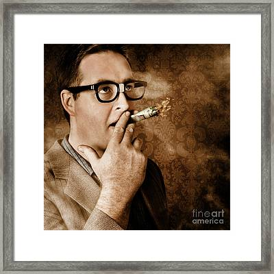 Vintage Business Man Smoking Money In Success Framed Print by Jorgo Photography - Wall Art Gallery
