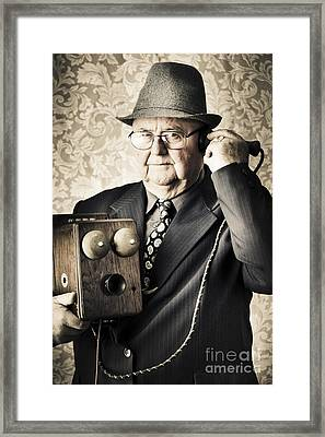 Vintage Business Man Using Retro Telephone Framed Print