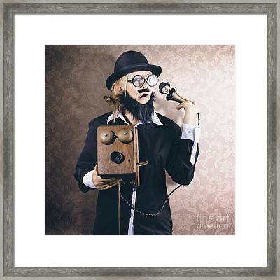 Vintage Businessman Listening To Conscience Framed Print by Jorgo Photography - Wall Art Gallery