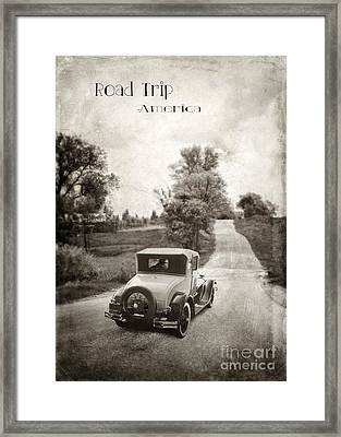Vintage Car On A Rural Road Framed Print by Jill Battaglia