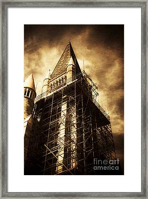 Vintage Church Column Construction Framed Print