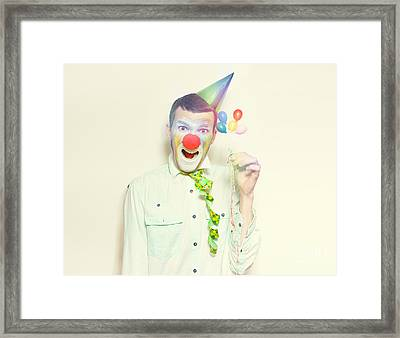 Vintage Clown With Birthday Balloons And Streamers Framed Print