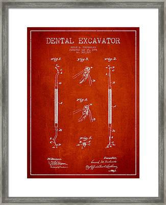 Vintage Dental Excavator Patent Drawing From 1896 - Red Framed Print