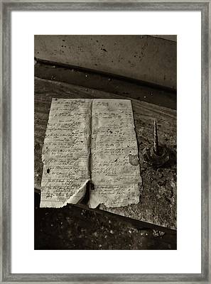 Vintage Document With Fountain Pen And Ink Pot Framed Print