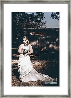 Vintage Elegant Bride At Rural Australian Wedding Framed Print