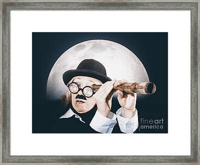 Vintage Explorer Looking To Shore With Telescope Framed Print by Jorgo Photography - Wall Art Gallery