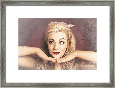 Vintage Face Of Nostalgia. Retro Blond 1940s Girl  Framed Print