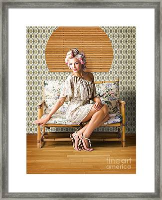 Vintage Fashion Photo Of A Sexy Blond Woman  Framed Print