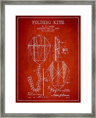 Vintage Folding Kite Patent From 1892 Framed Print by Aged Pixel