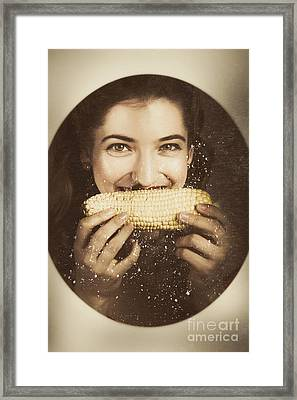 Vintage Food Product Advert. Woman Eating Corncob  Framed Print by Jorgo Photography - Wall Art Gallery