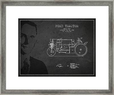 Vintage Ford Tractor Patent Drawing From 1941 Framed Print by Aged Pixel