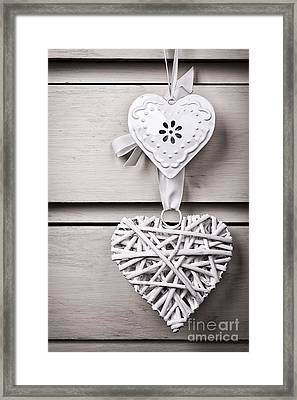 Vintage Hearts Framed Print by Jane Rix