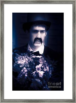 Vintage Man With Flowers Framed Print