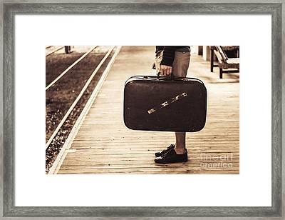 Vintage Man With Old Luggage At Train Station  Framed Print by Jorgo Photography - Wall Art Gallery