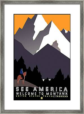 Vintage Montana Travel Poster Framed Print