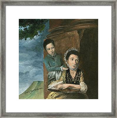 Framed Print featuring the painting Vintage Mother And Son by Mary Ellen Anderson
