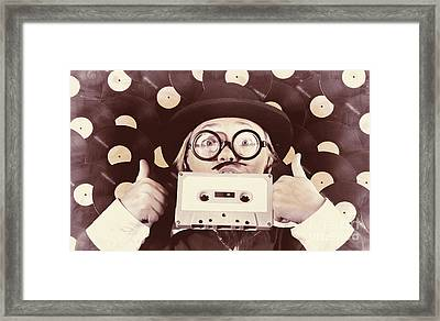 Vintage Music Woman Giving Thumb Up To Retro Songs Framed Print