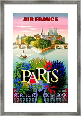 Vintage Paris Travel Poster Framed Print by Jon Neidert