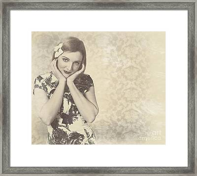 Vintage Photograph Of A Vintage Hollywood Actress Framed Print