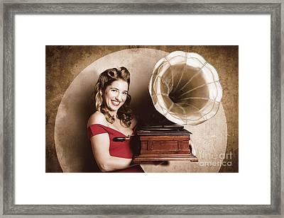 Vintage Pin-up Girl Listening To Record Player Framed Print by Jorgo Photography - Wall Art Gallery