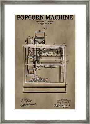 Vintage Popcorn Machine Patent Framed Print by Dan Sproul