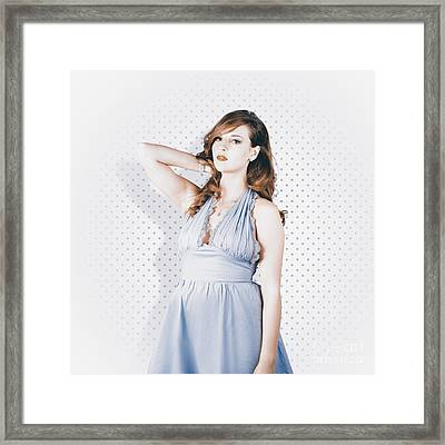 Vintage Portrait Of An American Style Pin-up Girl Framed Print
