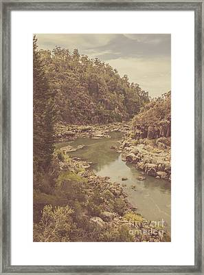 Vintage Rocky Mountain River In Forest Canyon Framed Print by Jorgo Photography - Wall Art Gallery