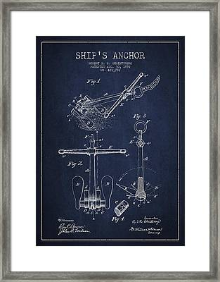Vintage Ship Anchor Patent From 1892 Framed Print