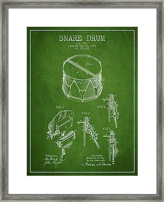 Vintage Snare Drum Patent Drawing From 1889 - Green Framed Print