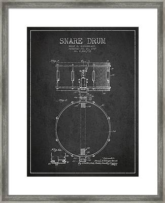 Snare Drum Patent Drawing From 1939 - Dark Framed Print