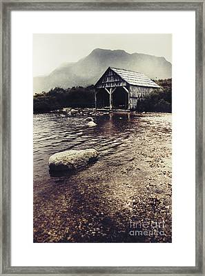 Vintage Style Landscape Of A Rustic Boat Shed Framed Print by Jorgo Photography - Wall Art Gallery