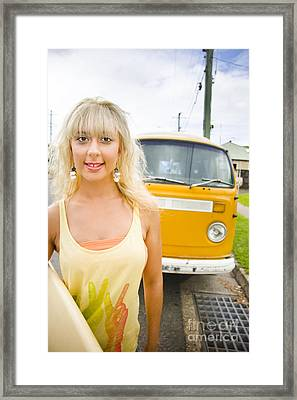 Vintage Surfer Portrait Framed Print by Jorgo Photography - Wall Art Gallery