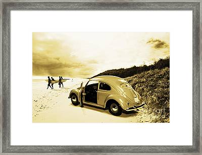 Vintage Surfing Scene Framed Print by Jorgo Photography - Wall Art Gallery