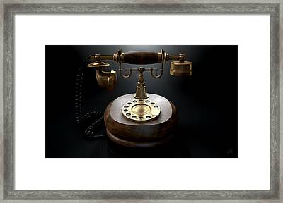 Vintage Telephone Dark Isolated Framed Print by Allan Swart