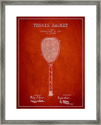 Vintage Tennnis Racketl Patent Drawing From 1887 Framed Print by Aged Pixel