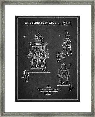 Vintage Toy Robot Patent Drawing From 1955 Framed Print by Aged Pixel