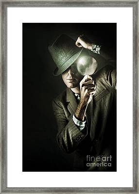 Vintage Undercover Spy On Dark Background Framed Print by Jorgo Photography - Wall Art Gallery