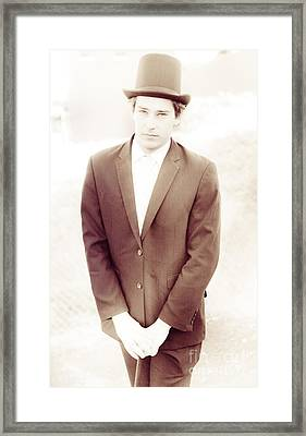 Vintage Upper Class Young Business Man In Top Hat Framed Print by Jorgo Photography - Wall Art Gallery
