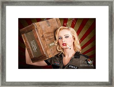 Vintage Western Allies Pinup Girl With Cigarette Framed Print