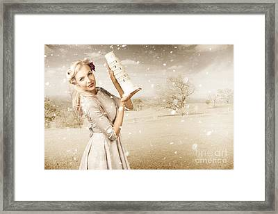 Vintage Woman Dreaming Of A Europe Travel Escape Framed Print