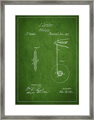 Vintage Yoyo Patent Drawing From 1867 Framed Print by Aged Pixel