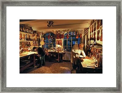 Violin-making Workshop Framed Print by Patrick Landmann