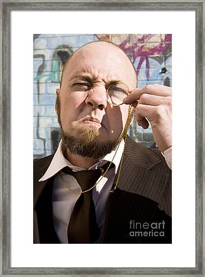 Vision Impared Monocle Man Framed Print