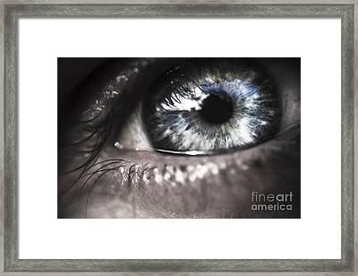 Visionary Blue Eye Watching Electric Skies Framed Print