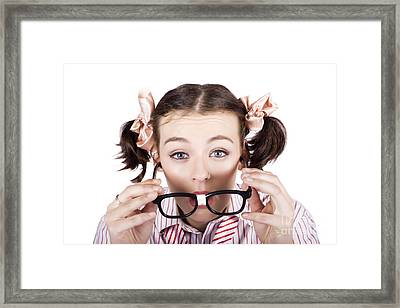 Visual Impaired Woman Trying To Read With Glasses Framed Print